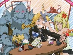 That image well describe the funny part of Fullmetal Alchemist. I always laugh when I see Al's face like that.