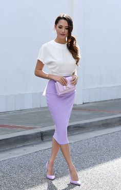 LATELY IN LAVENDER  Asos Top | Boohoo Skirt | Ted Baker Bag | Lilac Pumps | Coach Watch (similar) Fashion Look by Hapa Time