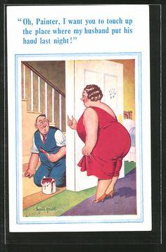 Künstler-AK Donald McGill: übergewichtige Frau bittet einen Maler in die Wohnung…
