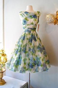 50s Dress // Vintage 1950s Chiffon Garden Party by xtabayvintage, $298.00 by missyann1