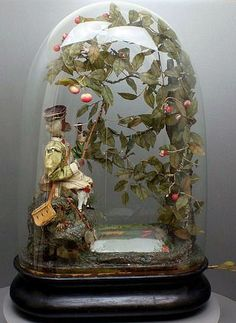 Antique fishing monkey musical automaton under glass dome, by J. Phalibois