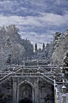 Sanctuary of Remedios with snow, Lamego, Portugal.