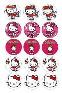 Hello Kitty Christmas 30 Precut Bottle cap diecut hairbow images, so