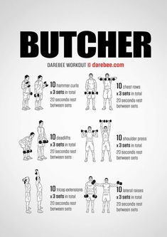 The butcher workout fitness ejercicios de fitness, entrenami Weekly Workout Plans, Gym Workout Tips, Weight Training Workouts, Dumbbell Workout, Boxing Workout, Man Workout, Quick Workouts, Workout Women, Kettlebell