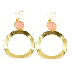 Sheila Fajl — Wavy Circle on Bezel-Set Stone Earring