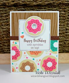Sweet Donut Card with CTMH Sugar Rush Cardmaking stamp set and matching Thin Cuts dies. by Vicki Wizniuk Handmade Birthday Cards, Happy Birthday Cards, Food Stamp Card, Card Tags, Gift Tags, Homemade Cards, Homemade Breads, Scrapbook Cards, Scrapbooking Ideas