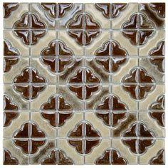 "EliteTile Castle 11.75"" x 11.75"" Porcelain Mosaic Tile in Henna"