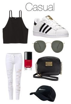 """""""Casual"""" by sophia-alonzo-pina on Polyvore featuring moda, adidas, Ray-Ban, Michael Kors, NIKE y Chanel"""