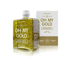 Oh My Gold - products are infused with edible gold G Design Studio via Lovely Package Pretty Packaging, Food Packaging, Brand Packaging, Bottle Packaging, Olive Oil Packaging, Smoothie Bar, Olive Oil Bottles, Label Design, Package Design