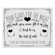 Mason jar bar sign wedding custom wedding color