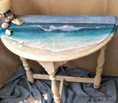 9 Great Table Makeovers with a Coastal Theme Table Top Art! Ocean Art Painting Table Makeover by Metamorfoza. Featured on Completely Coastal. Hand Painted Furniture, Funky Furniture, Refurbished Furniture, Paint Furniture, Repurposed Furniture, Furniture Makeover, Bedroom Furniture, Beach Furniture, Furniture Ideas