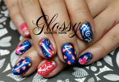 Most of them are Gel and Acrylic artificial nails but you might catch a few natural ones. Some Designs are hand painted and others are. Artificial Nails, Hand Painted, Gallery, Flowers, Beauty, Cosmetology, Royal Icing Flowers, Beauty Illustration, Flower