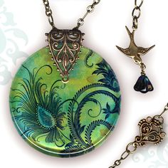 Petite Peacock Necklace  Reversible Glass Art  by tzaddishop, $32.00