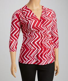 6ec4737160b Another great find on  zulily! Red  amp  White Chevron Surplice Top - Plus