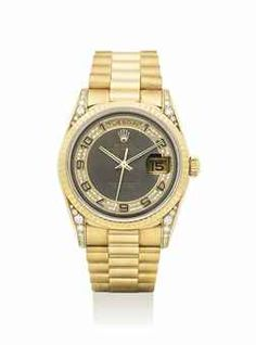 ROLEX. A VERY FINE AND RARE 18K GOLD AND DIAMOND-SET AUTOMATIC WRISTWATCH WITH SWEEP CENTRE SECONDS, DAY, DATE AND BRACELET