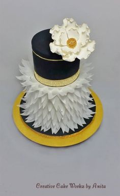 Black White & Gold Wafer Feather 1960's Cake