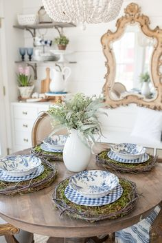 Spring Blue and White Breakfast Room