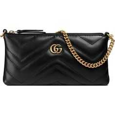 Gucci Gg Marmont Chain Mini Bag ($495) ❤ liked on Polyvore featuring bags, handbags, black, gucci, chain handbags, gucci wristlet, mini purse and real leather purses