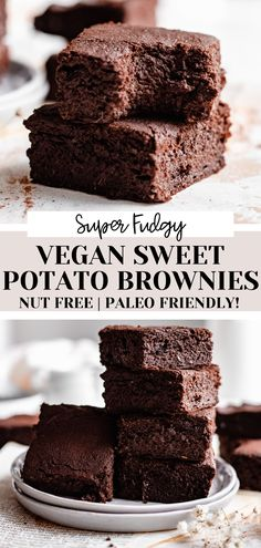 These naturally Paleo and gluten free fudgy vegan sweet potato brownies are made in a BLENDER! Simple ingredients, quick and easy to make and naturally nut free! They're the perfect healthy brownies recipe! Best Vegan Brownies, Vegan Gluten Free Desserts, Gluten Free Cookie Recipes, Healthy Brownies, Low Sugar Recipes, No Sugar Foods, Vegan Dessert Recipes, Brownie Recipes, Healthy Desserts