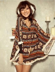 Novelty Tassel Snowflake Striped Women's Poncho Sweater on Buytrends.com, only price $14.07