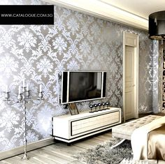 Mirror Effect Wallpaper  Home Decor Deals  Pinterest  Wallpaper Stunning Wallpaper Living Room Ideas For Decorating Inspiration Design