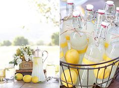 this is just so cute. love the bottles, love how they're wrapped, love the lemons mixed in with them, adore the bucket. seriously. SO CUTE!