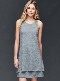 Double-layer linen-cotton dress Product Image