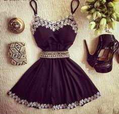 Vestido Black White Bordado - EllaGlamour