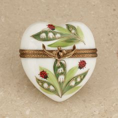 Limoges lily of the valley heart with ladybugs