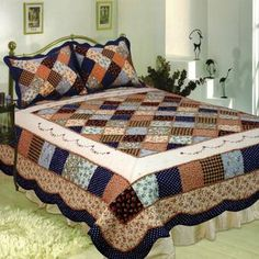 Decorate your master bedroom or special guest room with the Williamsburg Quilt Set from Elegant Decor. Known for their vibrant color combinations, wonderful designs and exceptional value, the quilt set includes the quilt and standard sham(s). Quilt Sets, Quilt Blocks, Quilting Projects, Quilting Designs, Patchwork Quilt Patterns, Crazy Patchwork, Patchwork Fabric, Patchwork Designs, Quilt Border