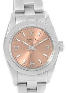 Rolex Rolex Oyster Perpetual Nondate Ladies Steel Salmon Dial Watch 67180