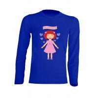 Camiseta Manga Larga Muñeca Encantadora Azul Royal