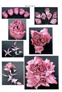 Wafer Paper Flowers, Satin Ribbon Flowers, Burlap Flowers, Diy Flowers, Making Fabric Flowers, Flower Making, Paper Flower Patterns, Ribbon Flower Tutorial, Kanzashi Flowers