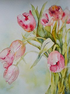Favourite Pink Tulips by Linda Virio Watercolour Painting, Watercolor Flowers, Watercolors, Watercolor Pictures, Pink Tulips, Arte Floral, Art Graphique, Flower Art, Art Photography