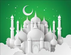 Paper mosque with ramadan kareem background vector 05 - WeLoveSoLo Mubarak Ramadan, Eid Mubarak Greetings, Eid Background, Eid Mubarek, Mosque Vector, Ramadan Poster, Mosque Silhouette, Selamat Hari Raya, Ramadan Kareem Vector