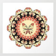 Round pattern with pink butterflies. Summer mandala.