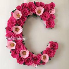 Pink Floral Letter S Floral Letter Floral Initial S Flower Mint Flowers, Unique Flowers, All Flowers, Paper Flowers, Wedding Flowers, Welcome Baby Party, Felt Wreath, Flower Nursery, Flower Letters