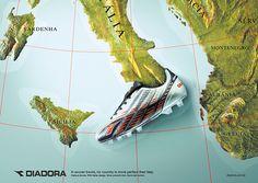 Diadora - Design Italiano by Juliano Weide, via Behance Guerrilla Advertising, Guerilla Marketing, Advertising Design, Marketing And Advertising, Football Ads, Football Is Life, Football Design, Montenegro, Albania