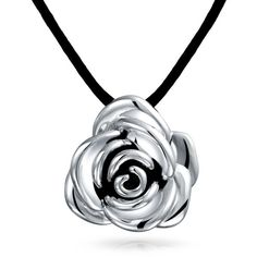 Bling Jewelry Spring Bloom Rose ($40) ❤ liked on Polyvore featuring jewelry, necklaces, black, necklaces pendants, pendants, black pendant necklace, black cord necklace, antique pendant necklace, black necklace and rose necklace pendant