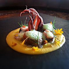 Uwe Spätlich's Baby octopus, creamy yellow carrot ginger puree, anchovi,dill, parsley lime foam | Flickr - Photo Sharing!