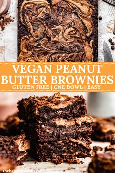 These gooey vegan peanut butter brownies are a swirly and fudgy dream! So easy to make with just one bowl, you will love these gluten free and dairy free peanut butter swirl brownies! #brownies #vegan #peanutbutter #glutenfree Healthy Chocolate Desserts, Keto Chocolate Cake, Gluten Free Chocolate Chip Cookies, Vegan Desserts, Just Desserts, Vegan Recipes, Dessert Recipes, Vegan Sweets, Peanut Butter Swirl Brownies