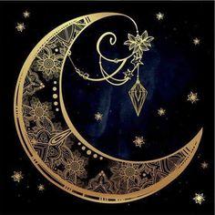 Illustration of Intricate hand drawn ornate crescent moon with feathers, gemstones. vector art, clipart and stock vectors. Sun Moon, Stars And Moon, Art Arabe, Aztecas Art, Moon Illustration, Cancer Moon, Scorpio Moon, Moon Design, Moon Art