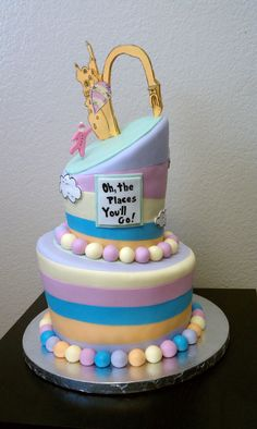 Dr. Seuss baby shower 'Oh the Places You'll Go!' cake by Cake Whimsy www.cake-whimsy.com...if only i was THIS good at cakes. haha.