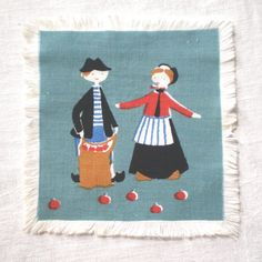 Danish Fairy Tale Cocktail Napkin Apple Picking by LinensandThings, $12.00