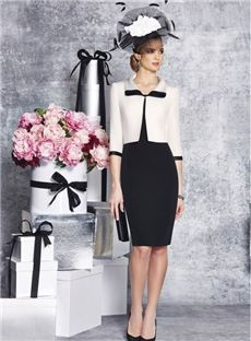 Elegant Round Neck Tea Length 3/4 Long Sleeves Jacket Sheath  Two Piece Mother Of The Brides Dress