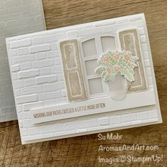 Window Box Flowers, Card Making Tips, Birthday Cards For Women, Window Cards, Note Cards, 21 Cards, Flower Stamp, Stamping Up, Homemade Cards