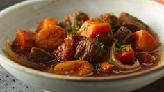 Cinnamon, cloves, apricots and sweet potatoes create the tasty twist to a homey beef stew....