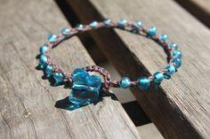 Aqua Crochet Bracelet. $12.00, via Etsy.