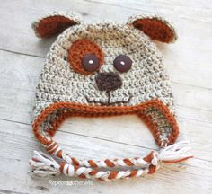 Crochet Puppy Hat FREE PATTERN- great baby gift idea) - @Heidi Macomber  please make this for me!! I'll comission you. It's either that or the turkey legs hat I pinned on this same board!