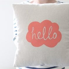 Hand Printed 'Hello' Cushion Cover